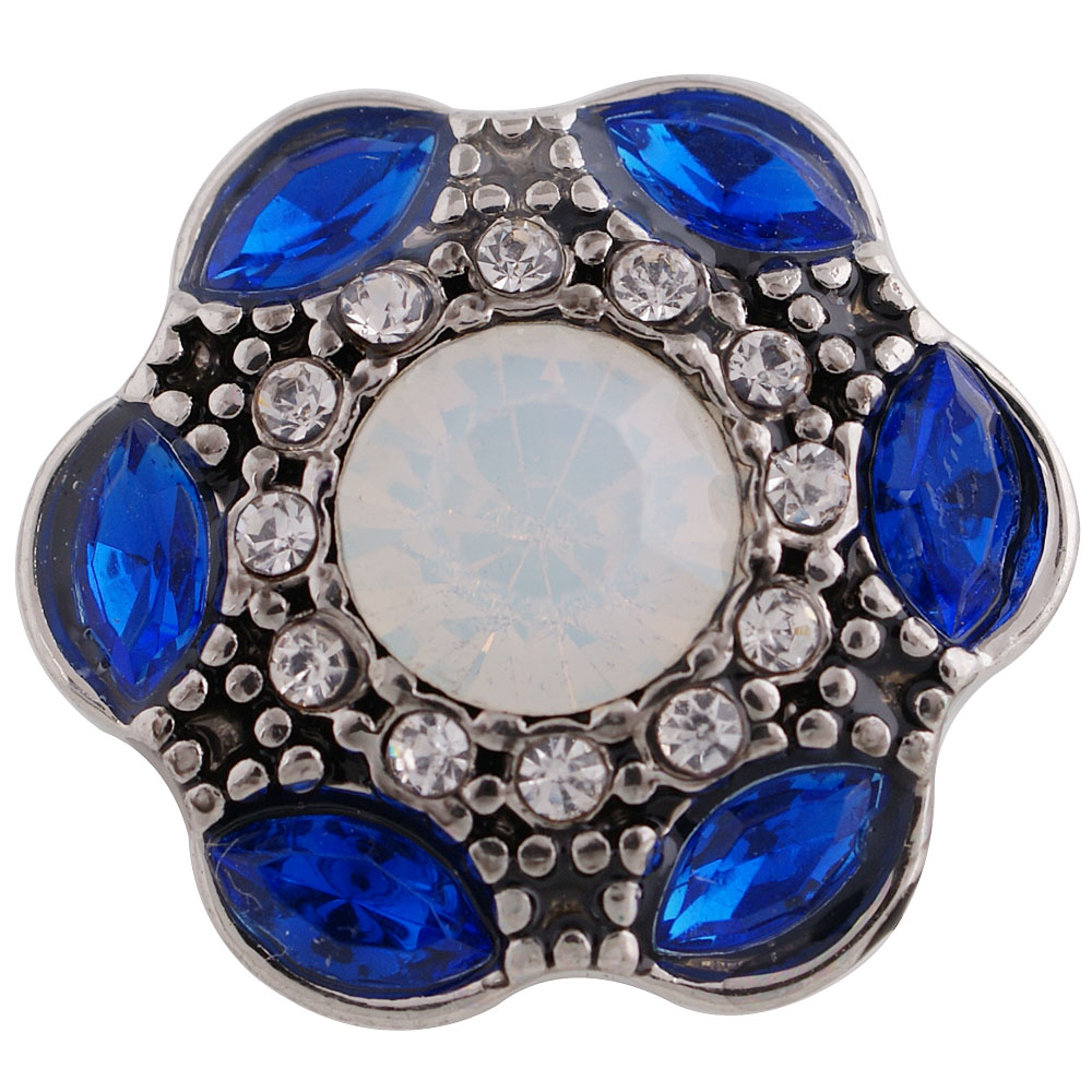 Snap Jewelry Rhinestone - Antique Designer Halo Dark Blue & AB