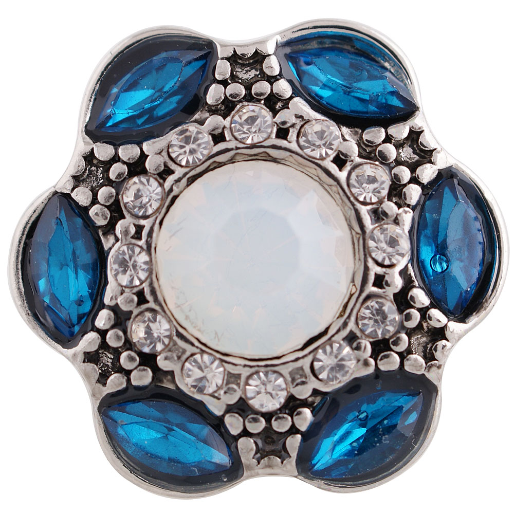 Snap Jewelry Rhinestone - Antique Designer Halo Zircon Teal & AB