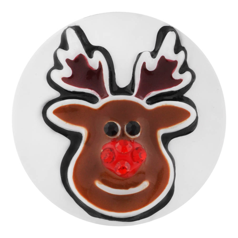 Snap Jewelry Enamel Christmas Holiday Reindeer Red Nose