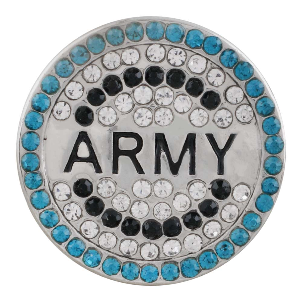 Snap Jewelry Rhinestone - Military ARMY