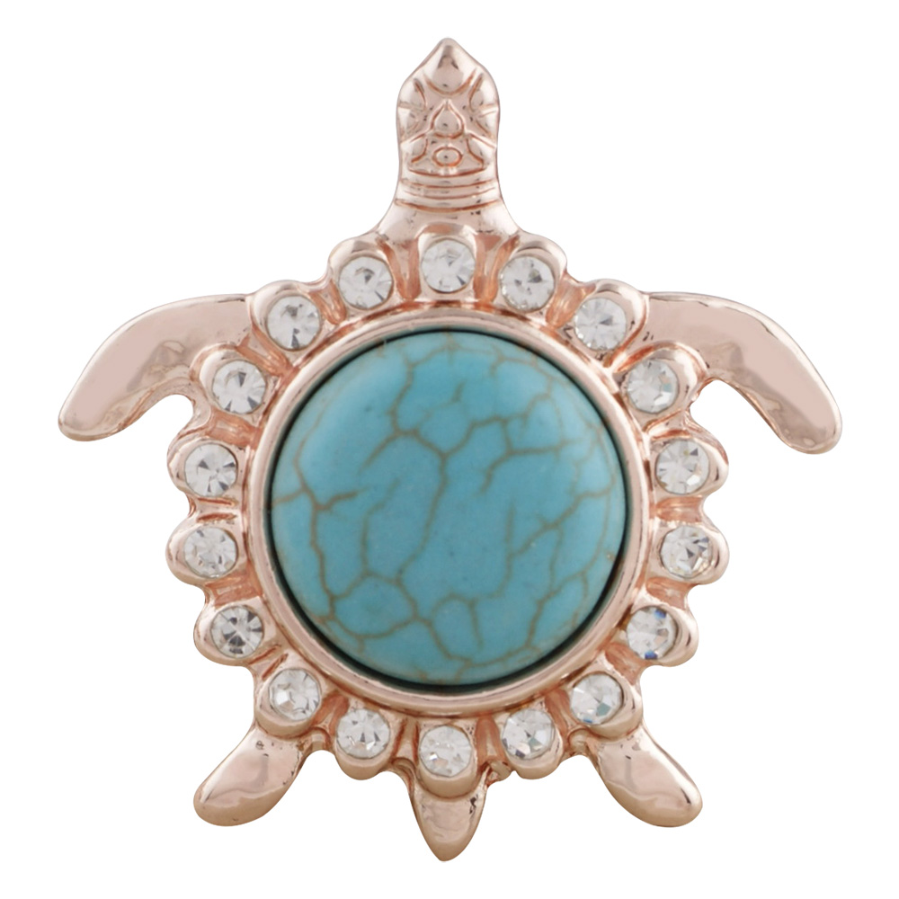 Snap Jewelry Gemstone - Turquoise Turtle in Rose Gold-tone