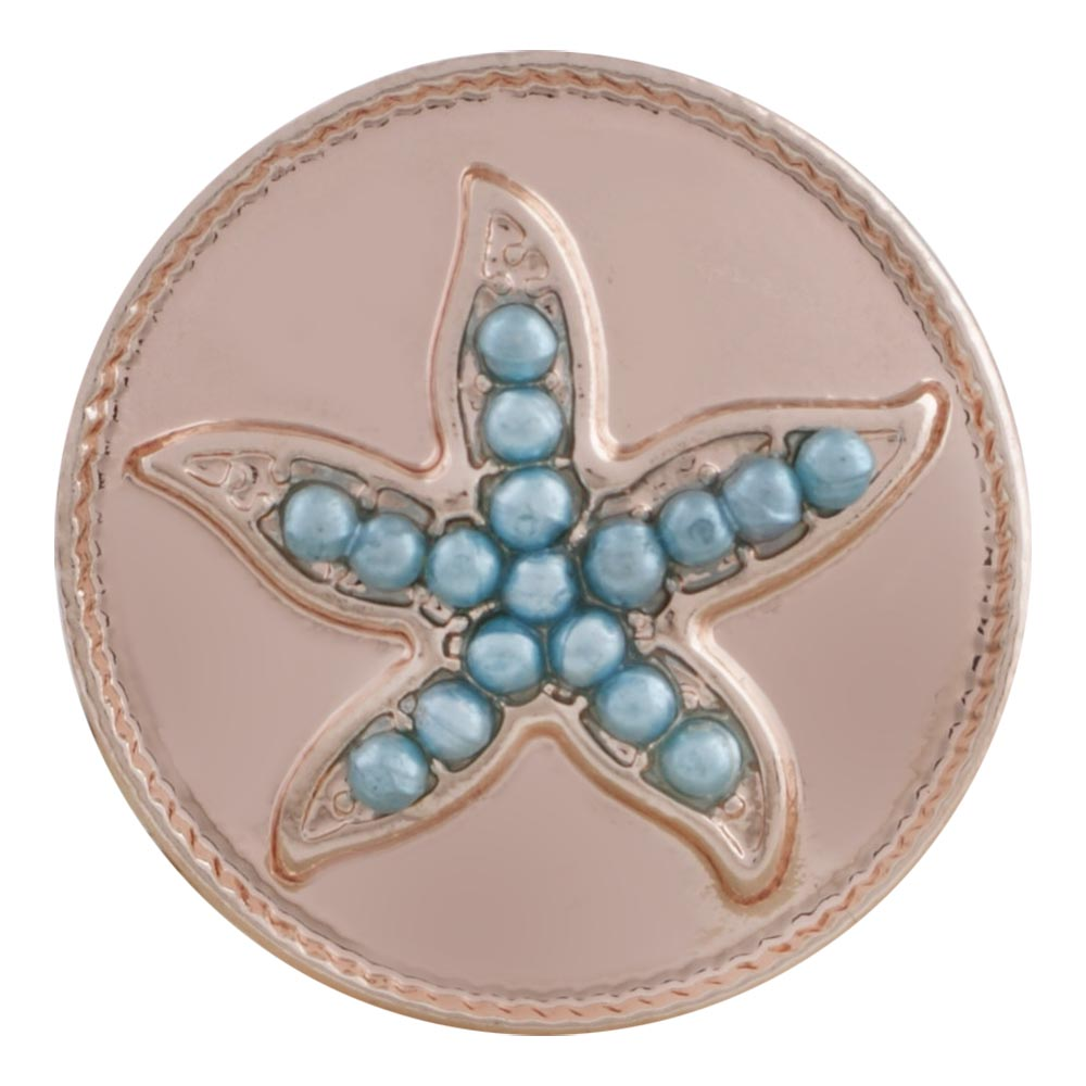 Snap Jewelry Rhinestone - Rose Gold-Tone Blue Bead Star Fish