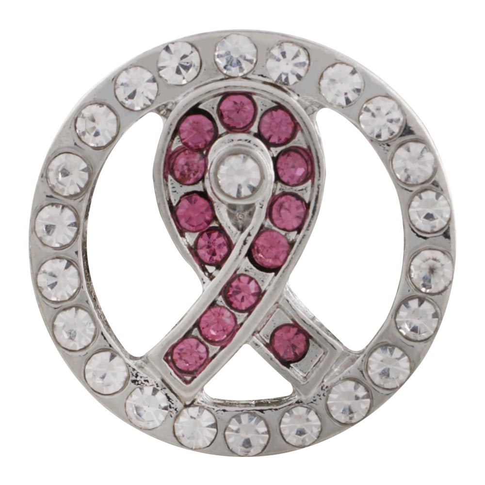 Snap Jewelry Rhinestone - Cancer Awareness Ribbon in Pink