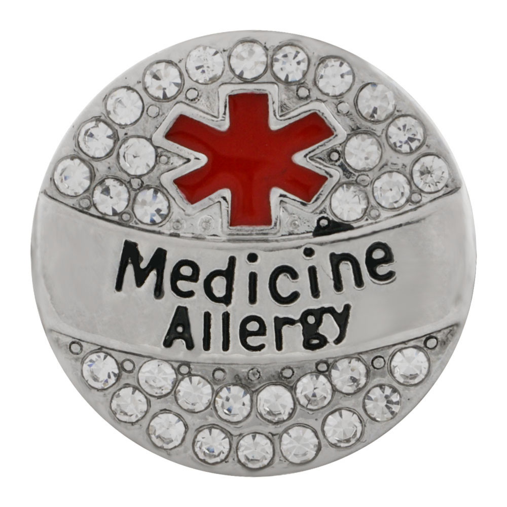 Snap Jewelry Metal - Medical Alert - Medicine Allergy