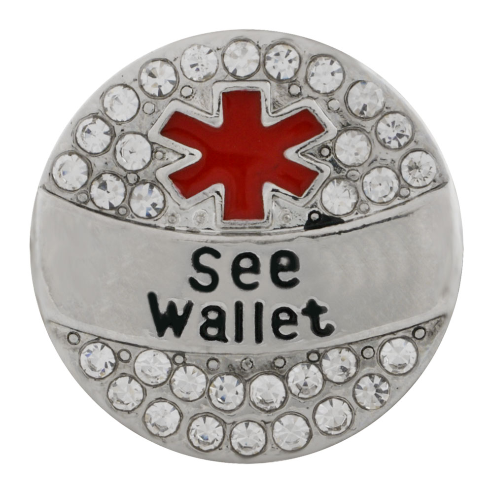 Snap Jewelry Metal - Medical Alert - See Wallet