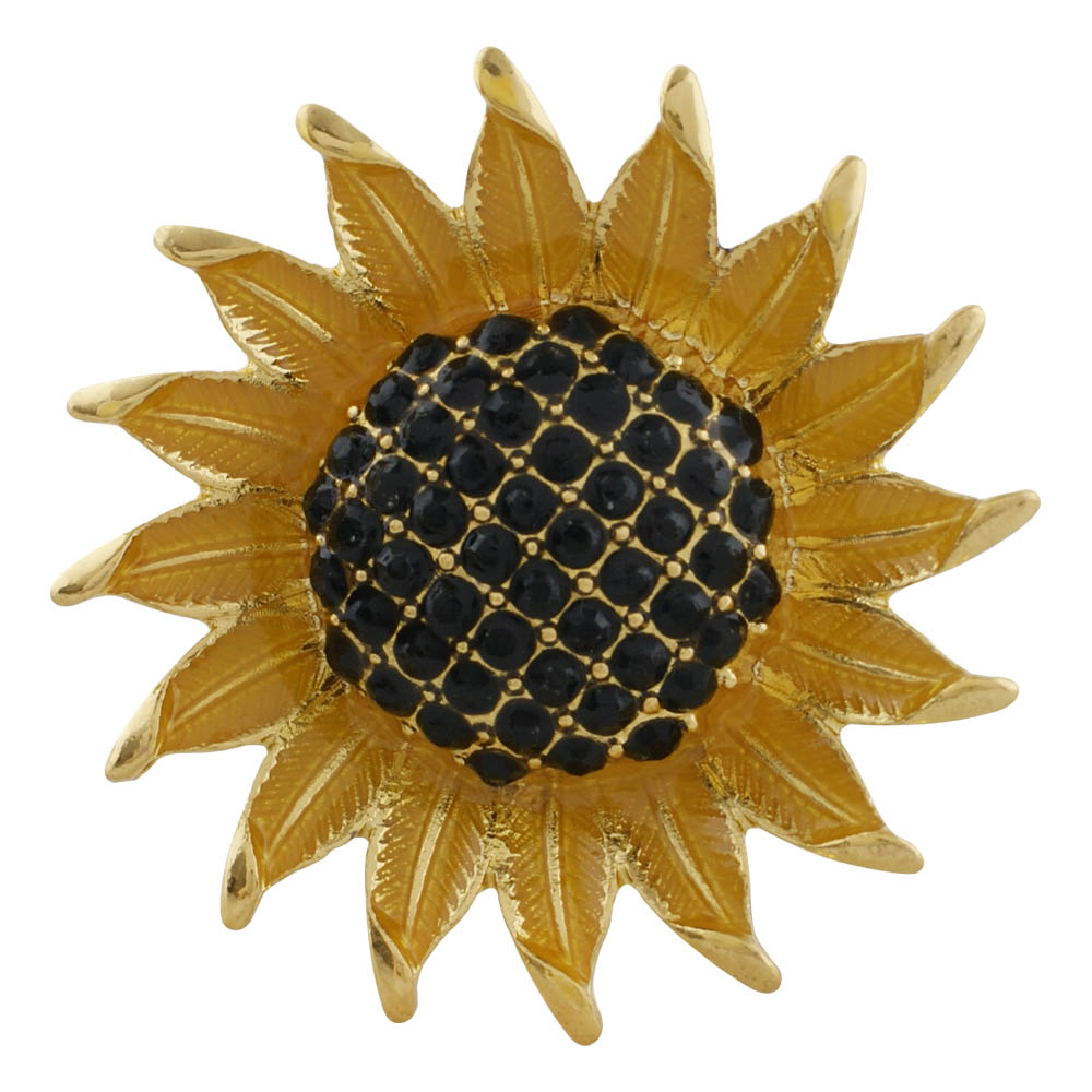 Snap Jewelry Rhinestone - Gold-Tone SunFlower Black Stone Center