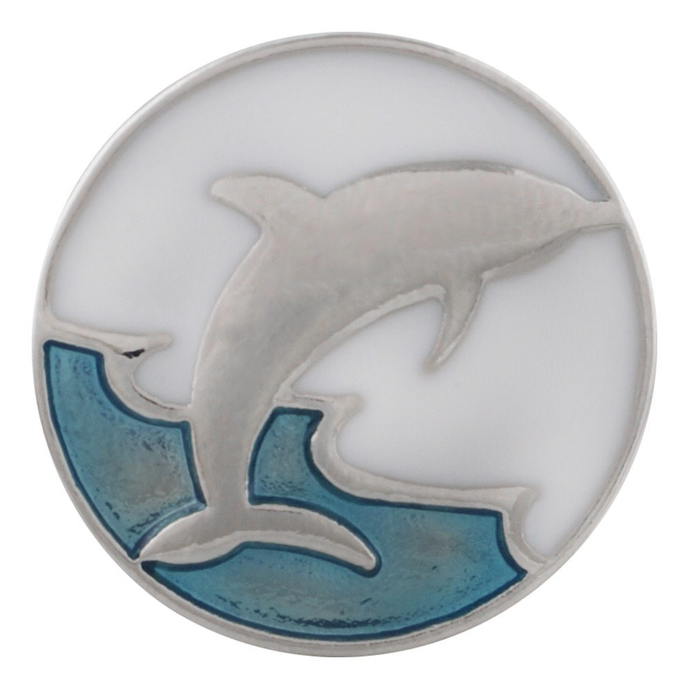 Snap Jewelry Enamel - Dolphin Jump White & Blue