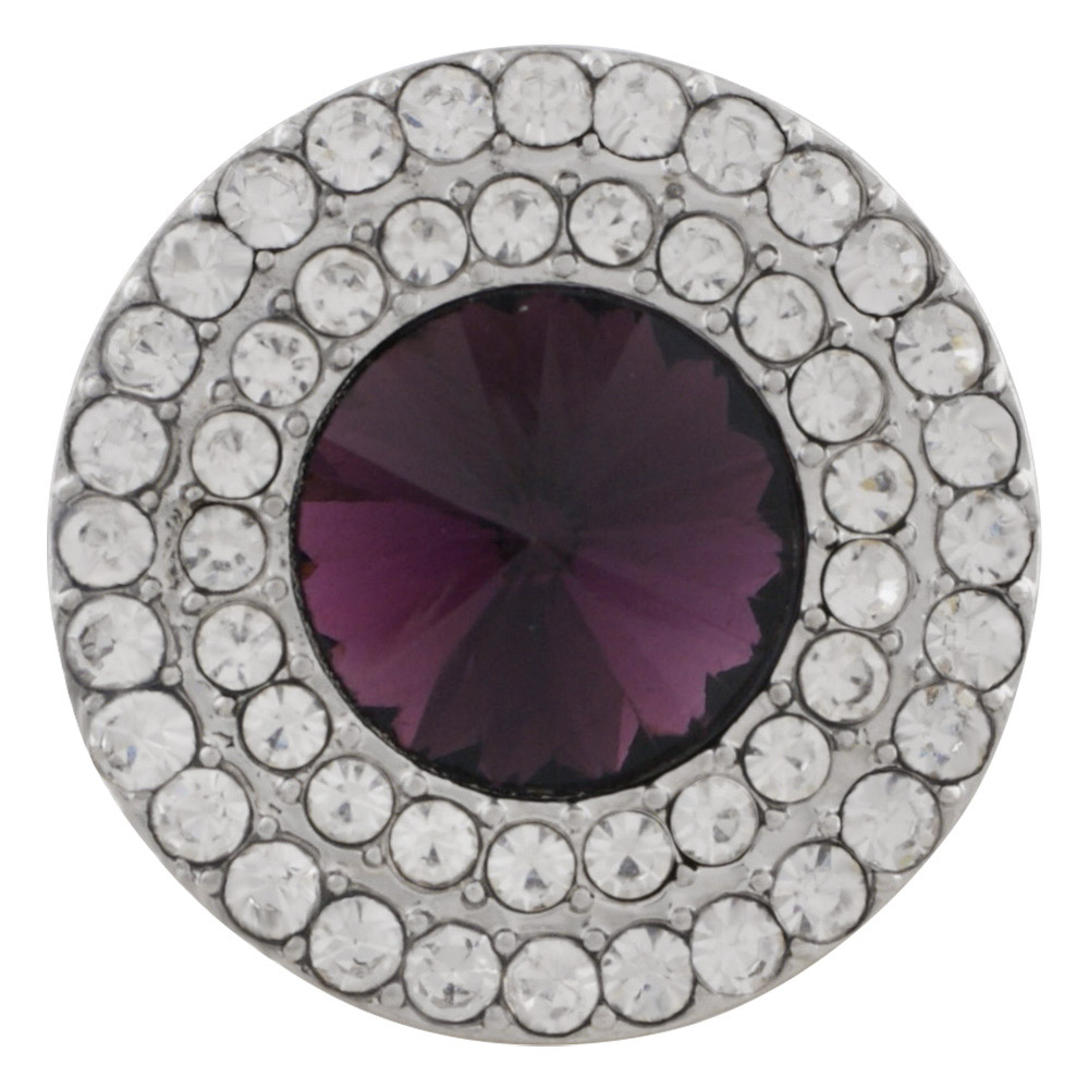 Snap Jewelry Rhinestone - Clear Double Halo & Purple Center