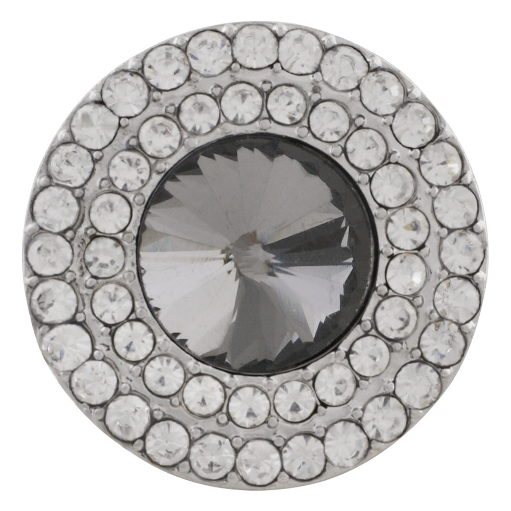 Snap Jewelry Rhinestone - Clear Double Halo & Gray Center