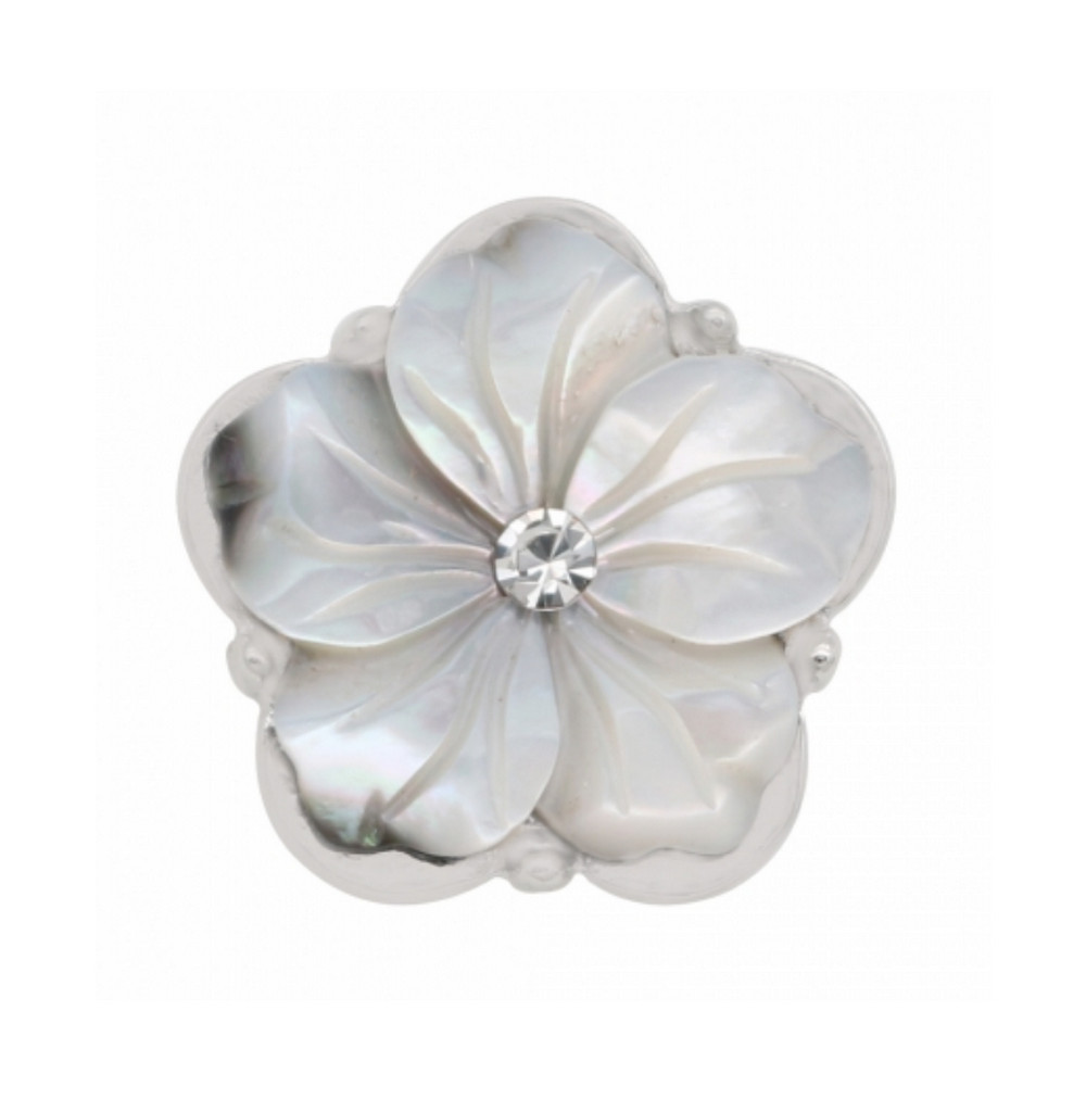 Snap Jewelry Rhinestone Mother Of Pearl Flower