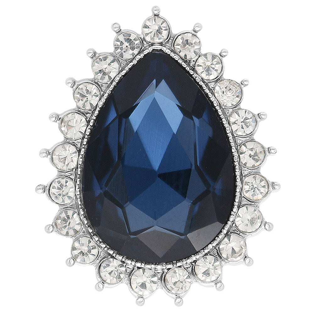 Snap Jewelry Rhinestone Dark Blue & Clear Halo Pear Shape
