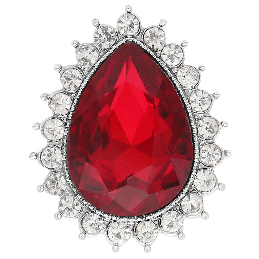Snap Jewelry Rhinestone - Ruby Red Pear Shape & Clear Stones