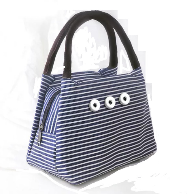 Snap Jewelry Blue Purse Handheld Bag Fits 18-20mm Ginger Snaps