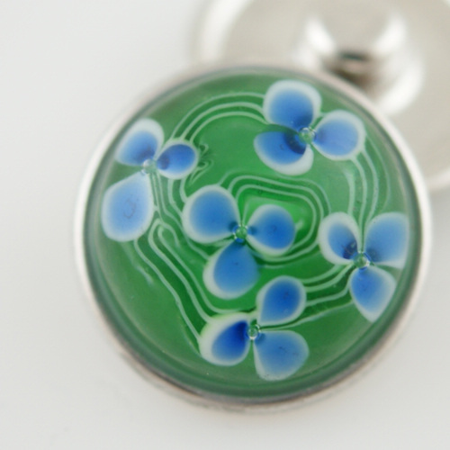 Snap Jewelry Glass - Flower - Green & Blue