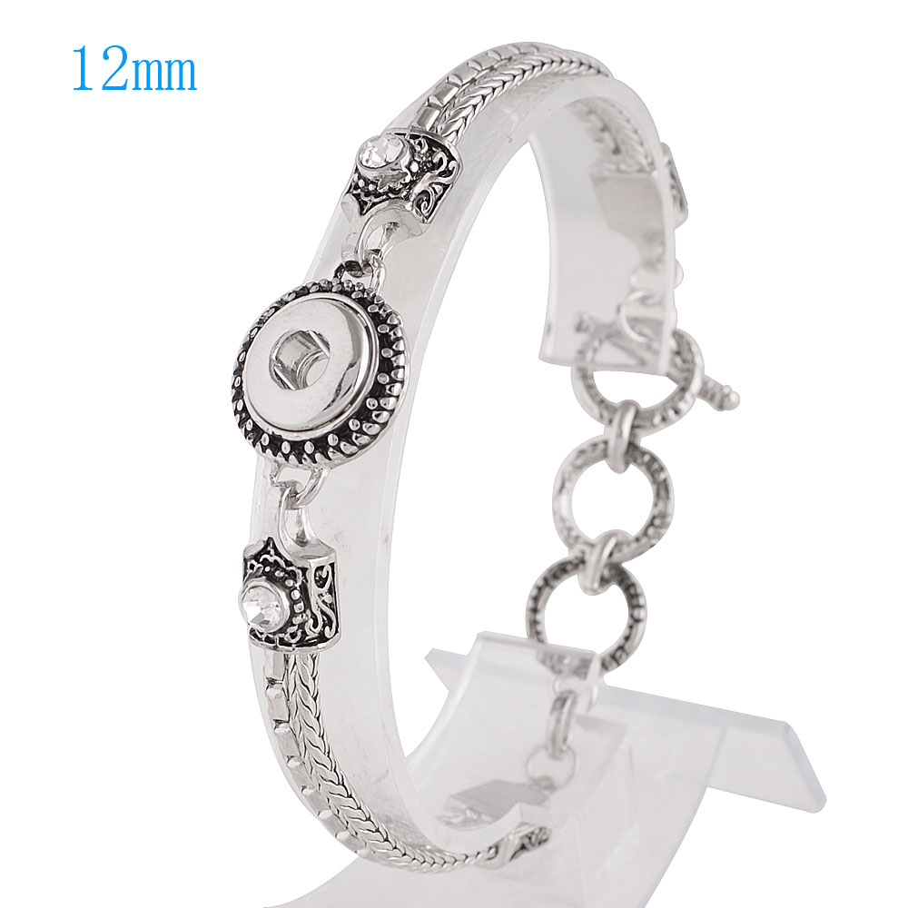 Mini 12mm Snap Jewelry Toggle Bracelet - CZ Accents Strands