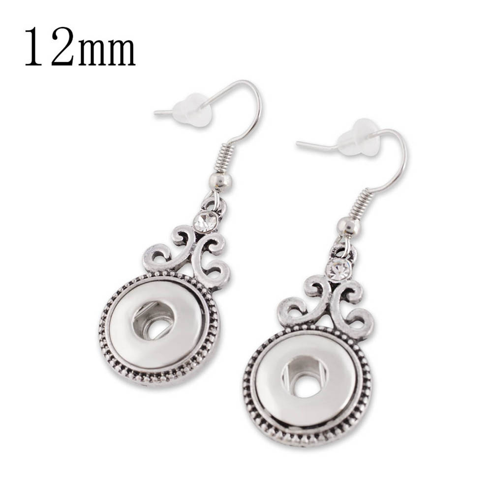 Mini Snap 12mm - Earring Rhinestone Scroll Design