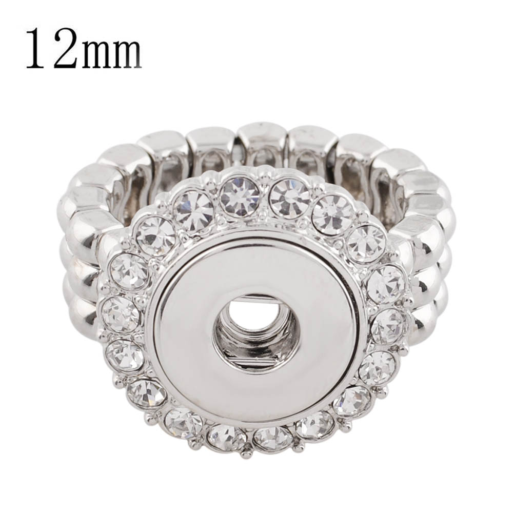 Mini 12mm Snap Jewelry Halo Rhinestone Stretch Ring