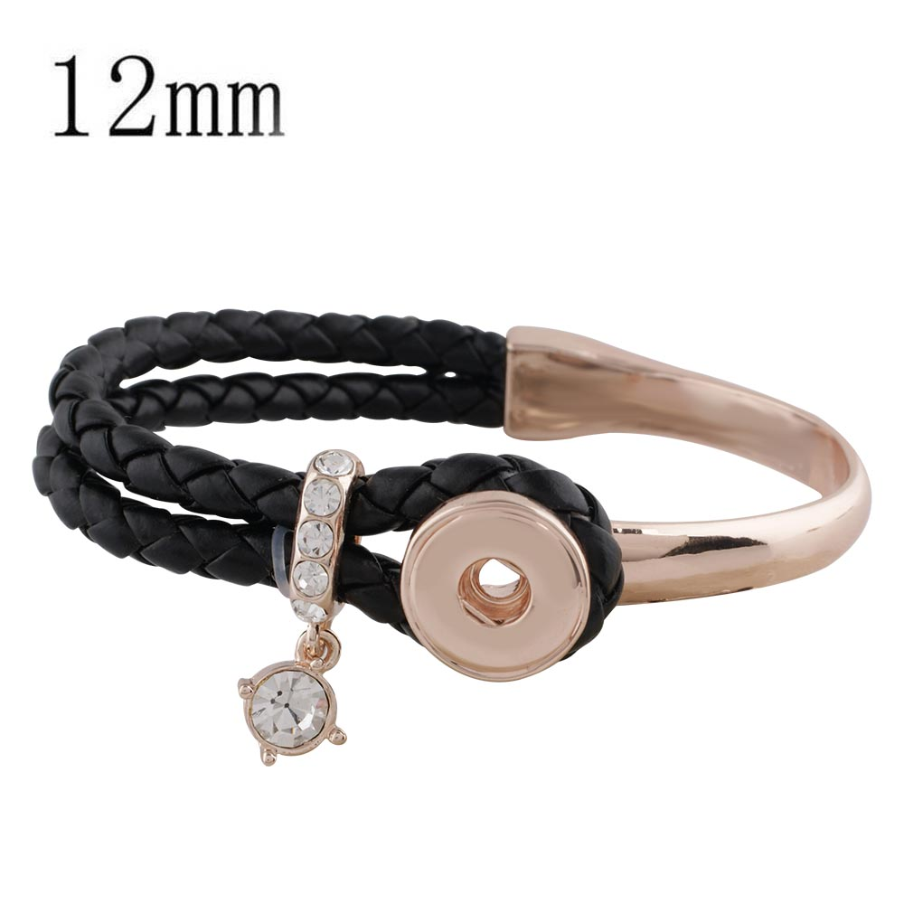Mini Snap Bracelet Leather/Metal Hook & Loop - Black & Rose Gold