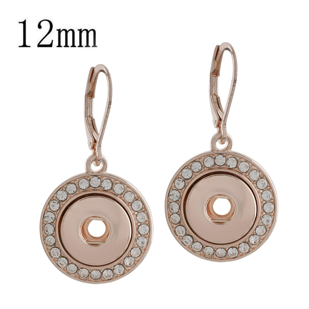 Mini 12mm Snap Jewelry Lever back Rhinestone Halo Earring RG
