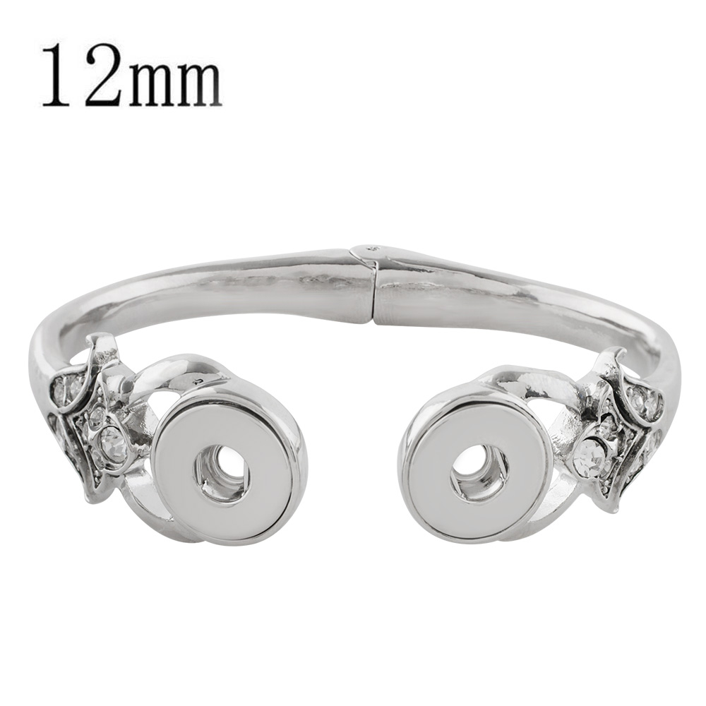 Mini Snap 12mm - Bracelet Hinged Cuff Designer Holds 2 Snaps