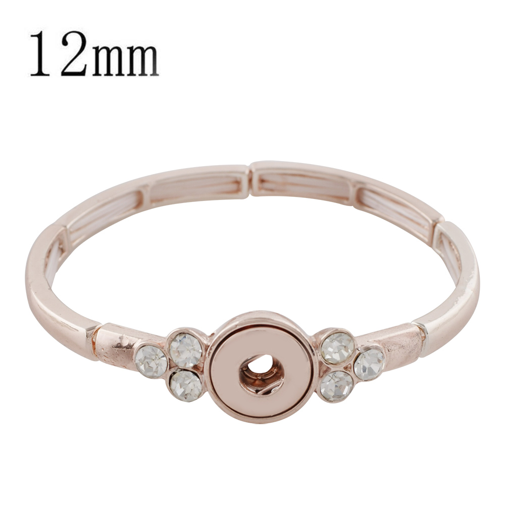 Mini Snap 12mm - Bracelet Stretch Rose Gold Tone & Clear Stones