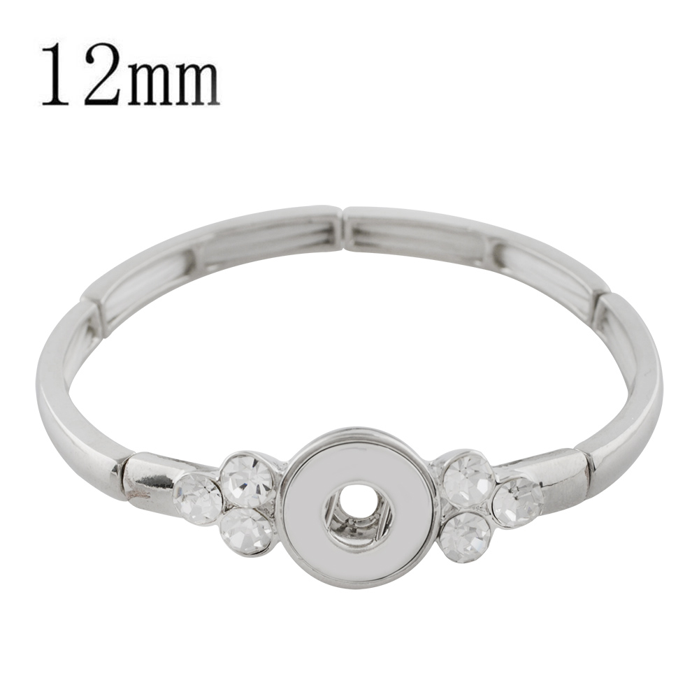 Mini Snap 12mm - Bracelet Stretch Silver Tone & Clear Stones