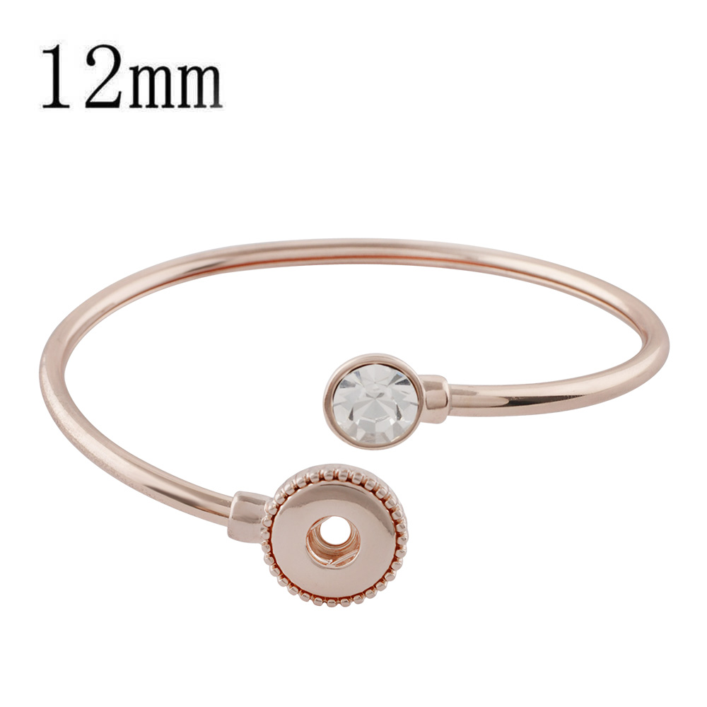 Mini Snap 12mm - Bracelet Twist Cuff Bangle CZ Stone