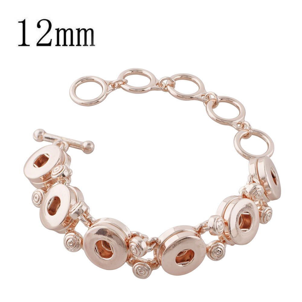 Mini 12mm Snap Rose Gold Toggle Bracelet Holds 5 Snaps