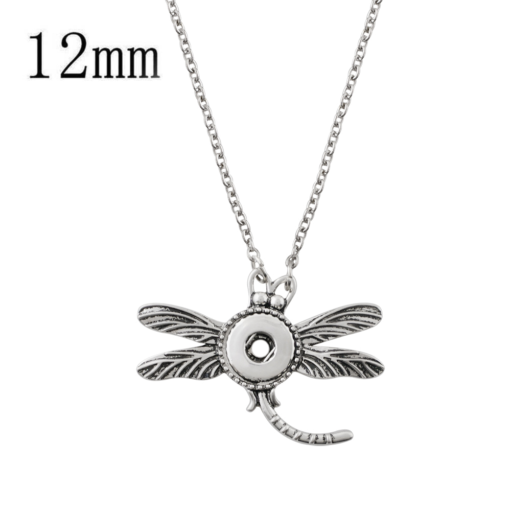 "Mini Snap 12mm Dragonfly Necklace 18""+2"""