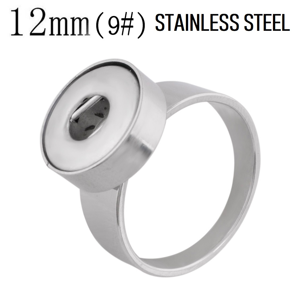 12mm Mini Snap Jewelry Ring - Stainless Steel - Size 9
