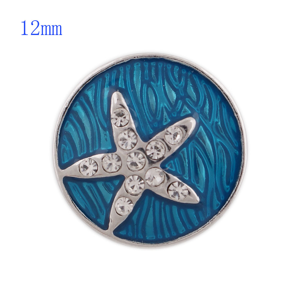 Mini Snap 12mm - Enamel Starfish Blue