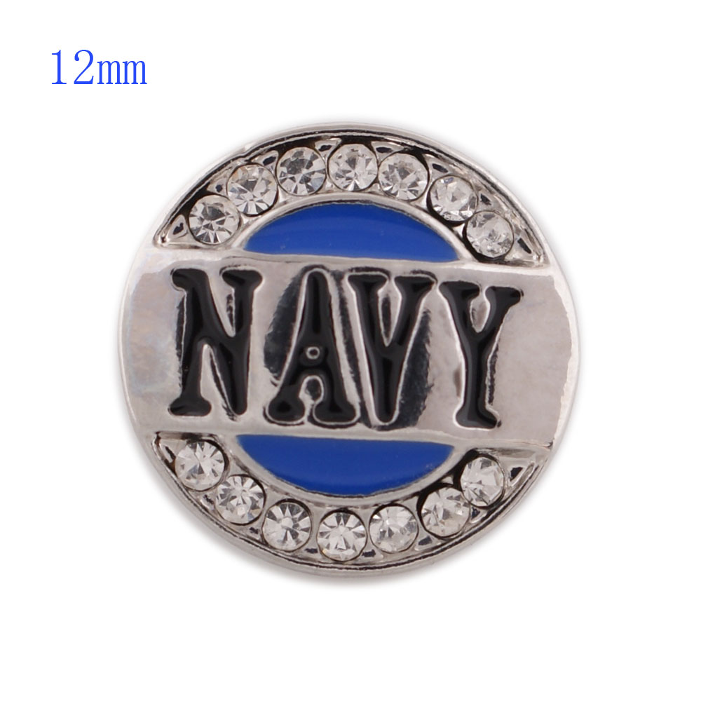 Mini Snap 12mm - Rhinestone Navy Military