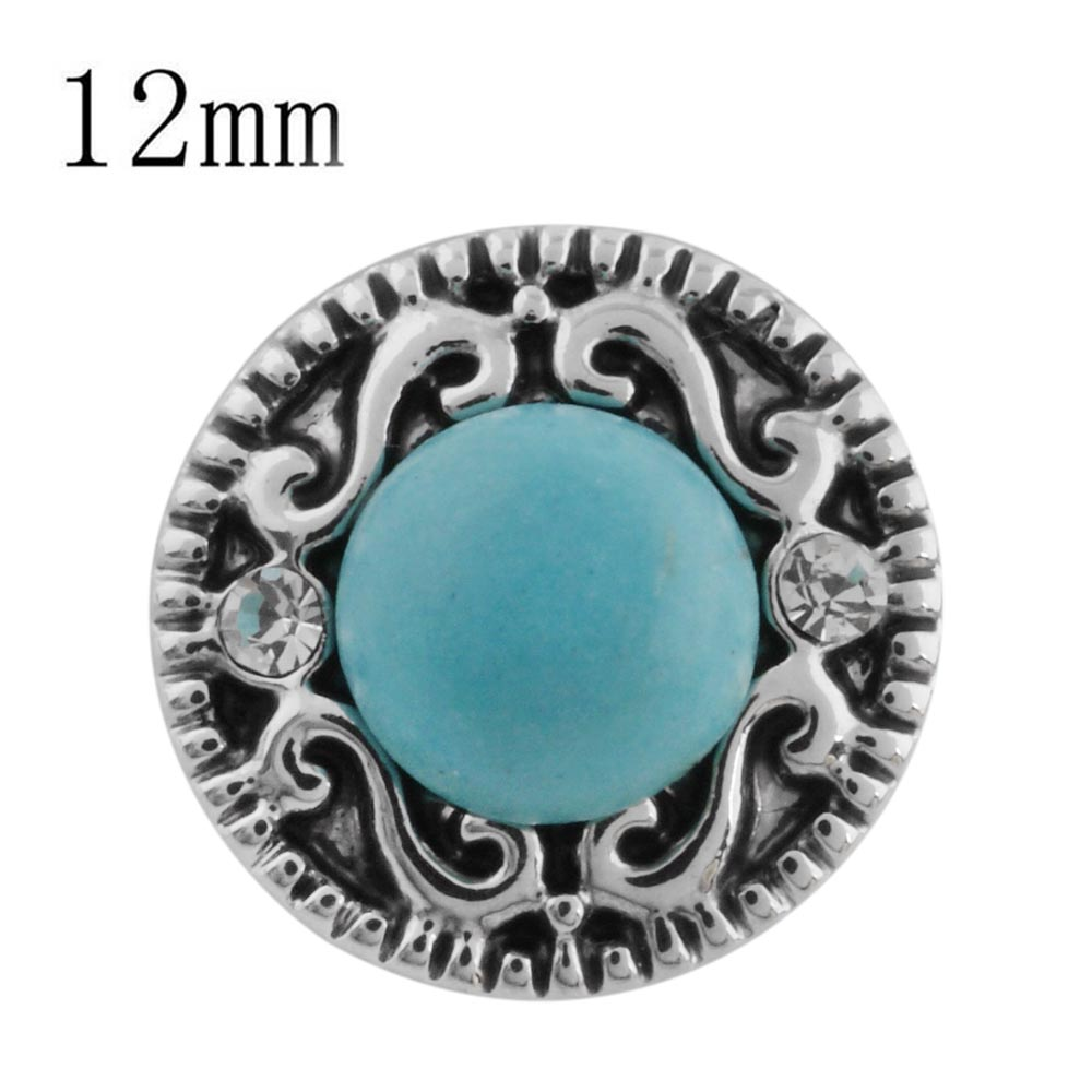 Mini 12mm Snap Jewelry Stone Turquoise & Rhinestone Scroll