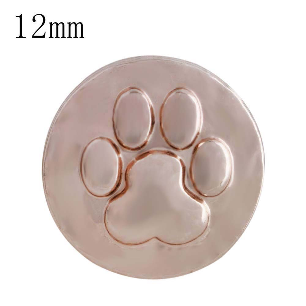 Mini Snap 12mm Metal - Paw in Rose Gold