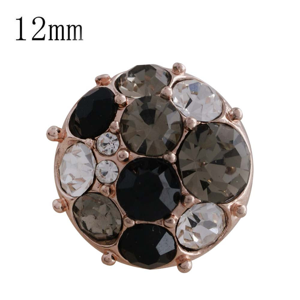 Mini 12mm Snap On Rose Gold - Cluster Clear-to-Black