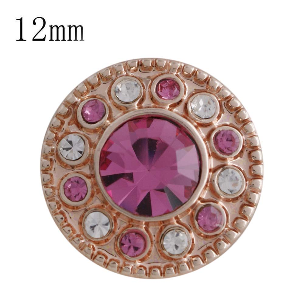 Mini 12mm Rhinestone Snap Rose Gold Halo - Pink & Clear