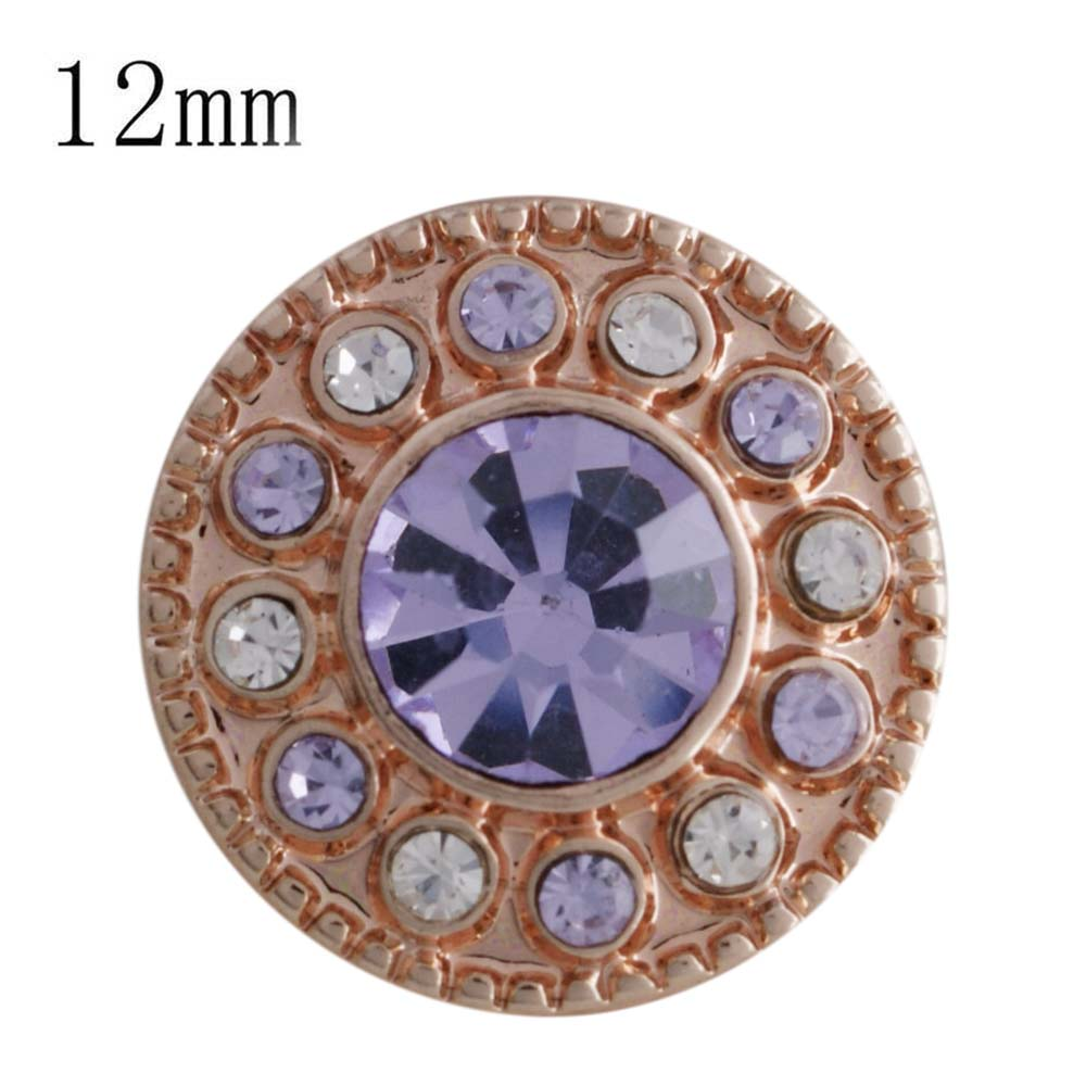 Mini 12mm Rhinestone Snap Rose Gold Halo - Lavender & Clear