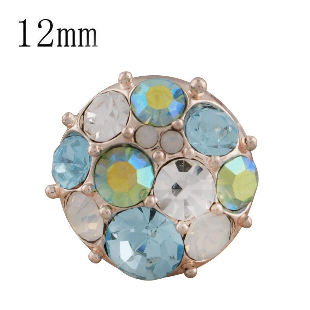 Mini 12mm Snap Rose Gold Tone - Cluster in Blue & Clear