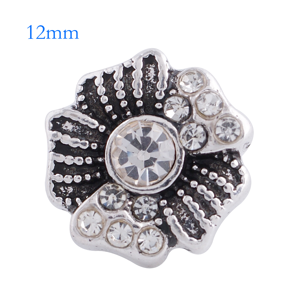 Mini 12mm Snap Jewelry Rhinestone Flower Clear - Click Image to Close