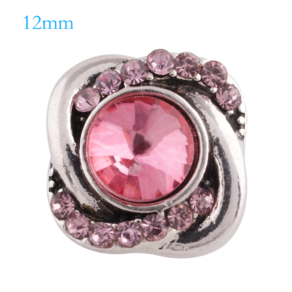 Mini Snap 12mm - Rhinestone Spiral Pink