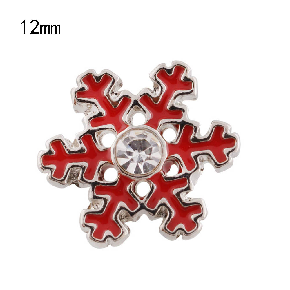 Mini Snap 12mm - Enamel Red Snowflake & Clear Stone