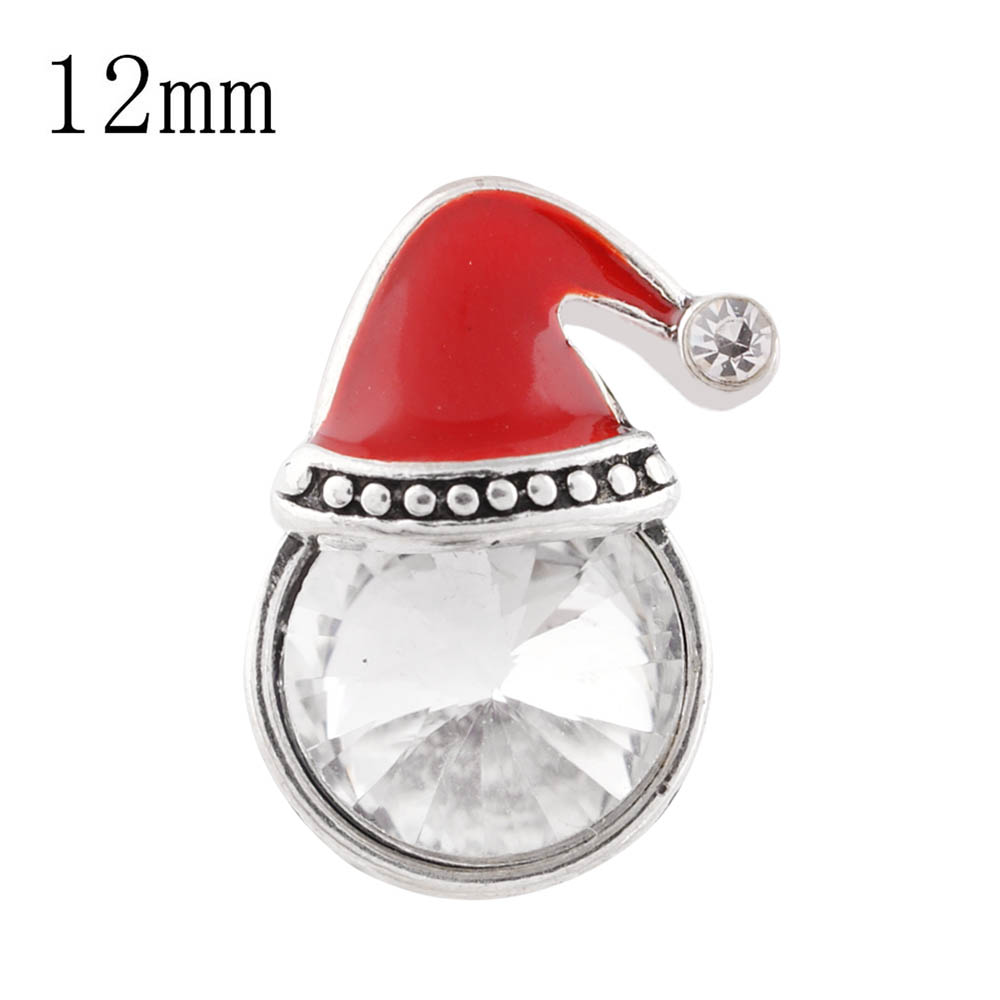 Mini 12mm snap Jewelry Enamel Christmas Holiday Santa Hat