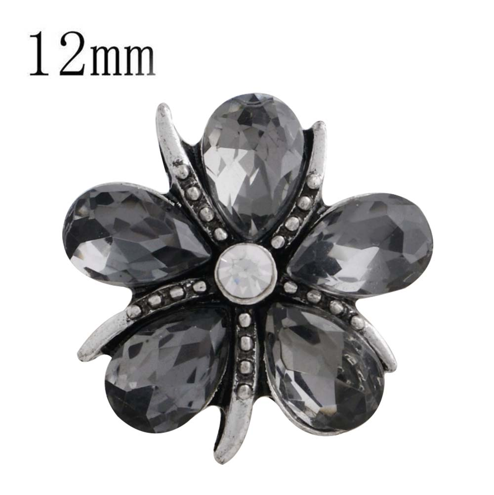Mini Snap 12mm - Flower in Gray Petals