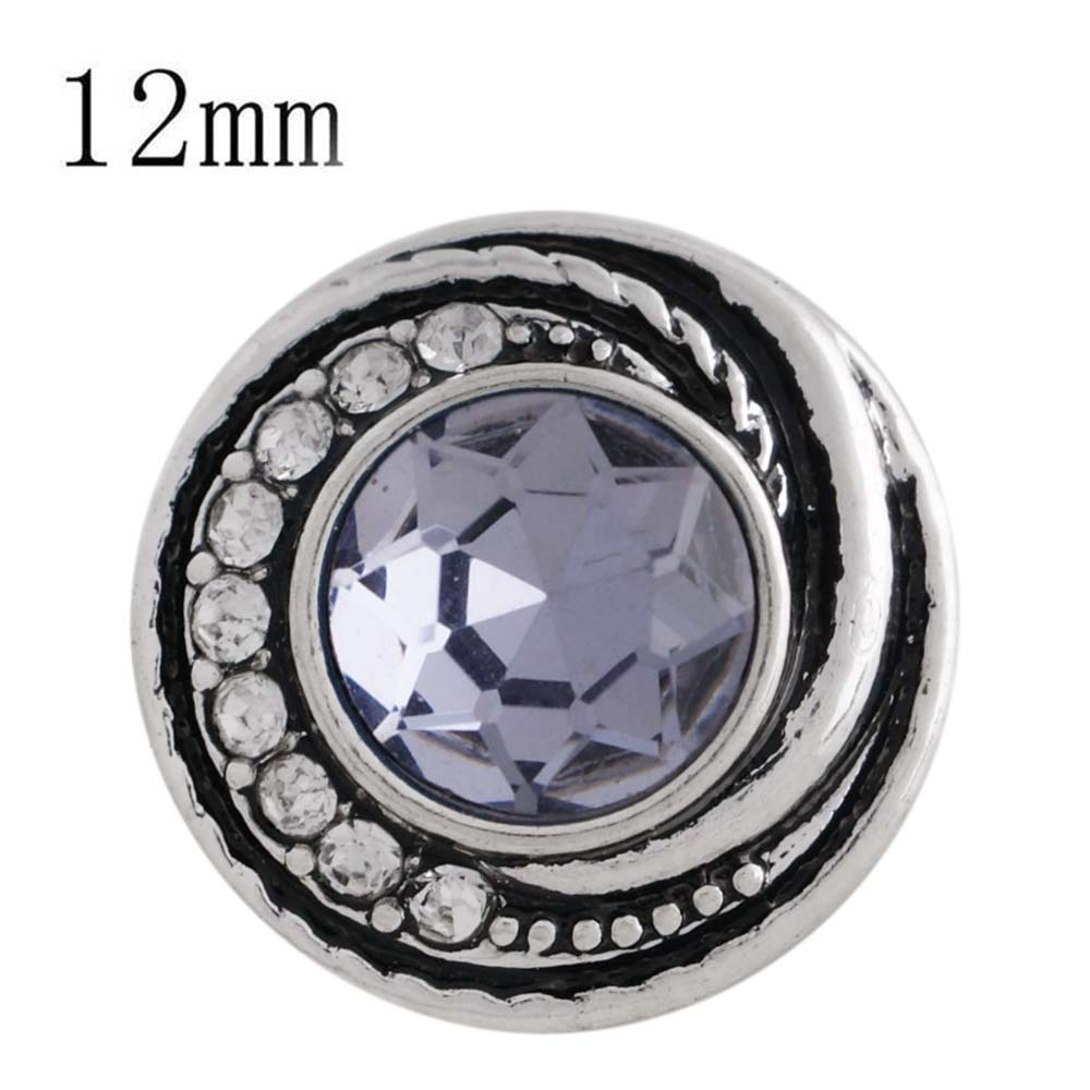 Mini 12mm Faceted Rhinestone Swirl Snap - Lavender Purple