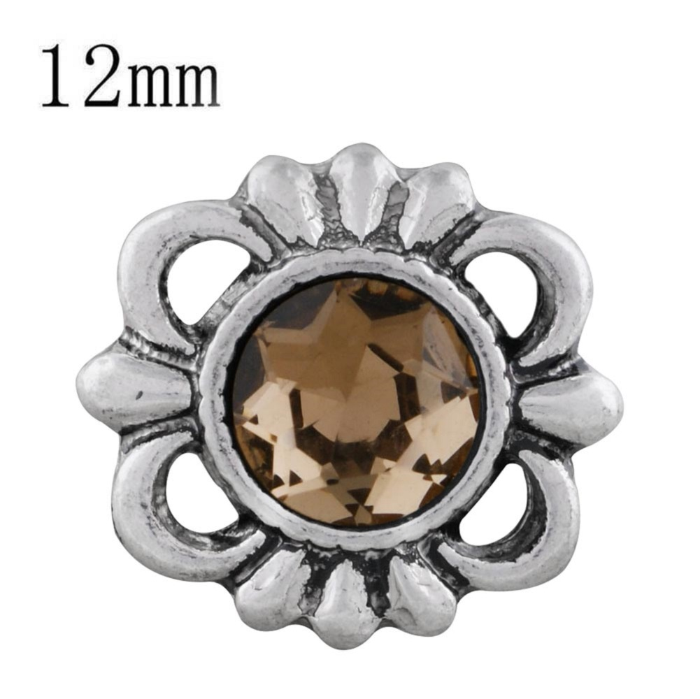 Mini Snap 12mm - Open Scroll Design Gold Amber Stone