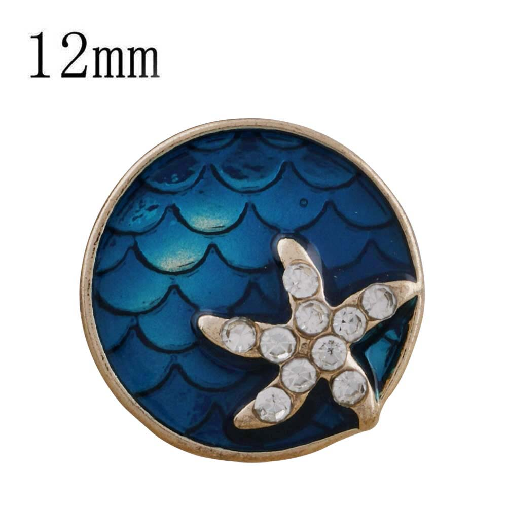 Mini 12mm Snap Rose Gold Tone - Enamel Starfish