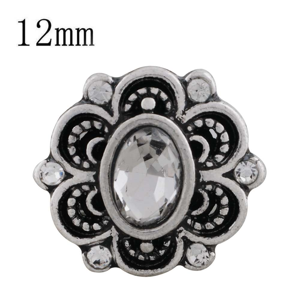 Mini 12mm Faceted Oval Rhinestone Snap - Clearin Flower Design