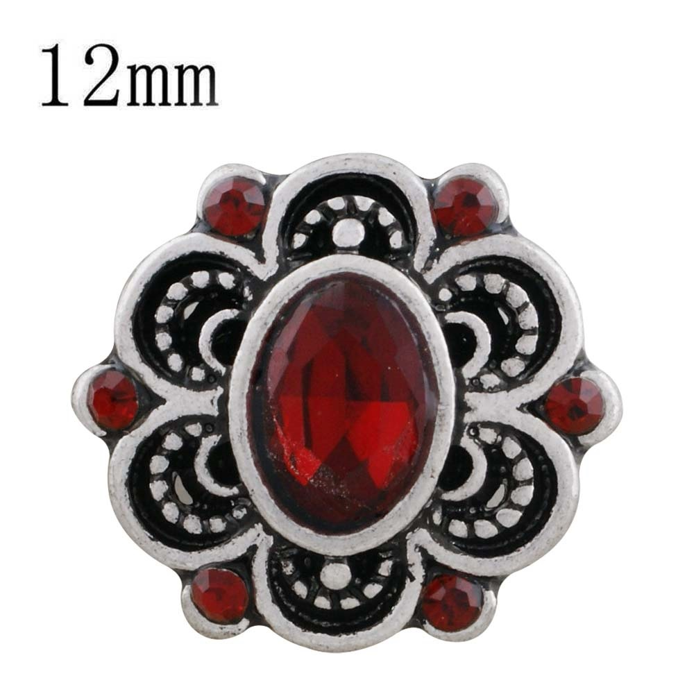 Mini 12mm Faceted Oval Rhinestone Snap - Red in Flower Design