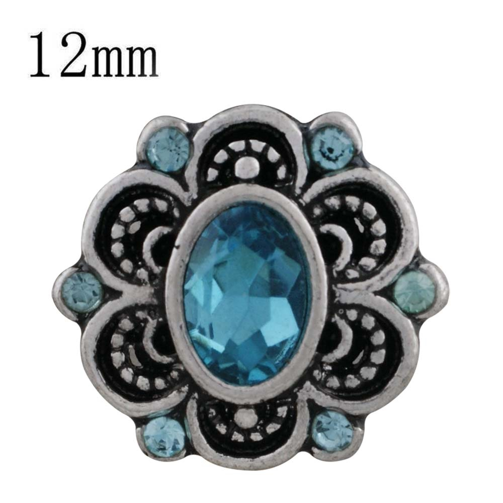 Mini 12mm Faceted Oval Rhinestone Snap - Blue in Flower Design