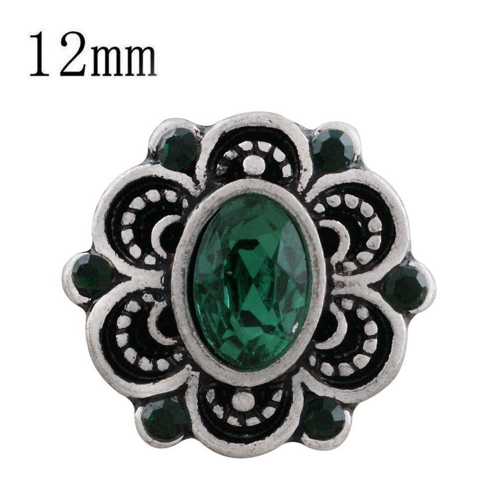 Mini 12mm Faceted Oval Rhinestone Snap - Green in Flower Design